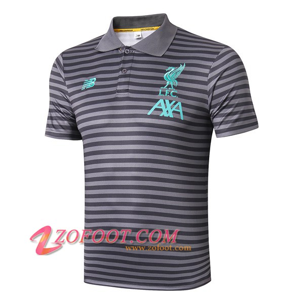 Polo Foot FC Liverpool Gris Fonce Stripe 2019/2020