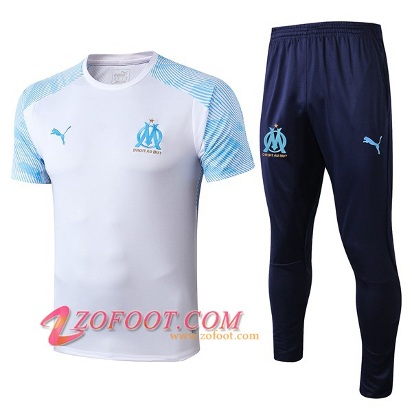 Ensemble Training T-Shirts Marseille OM + Pantalon Blanc 2019/2020
