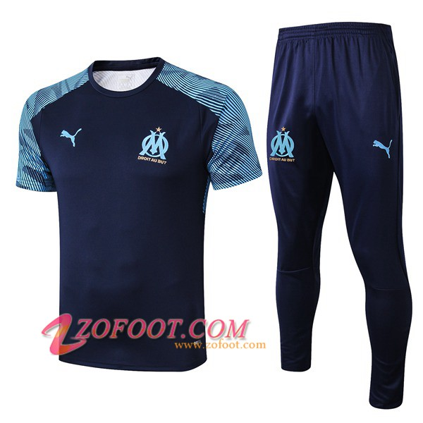 Ensemble Training T-Shirts Marseille OM + Pantalon Bleu Fonce 2019/2020