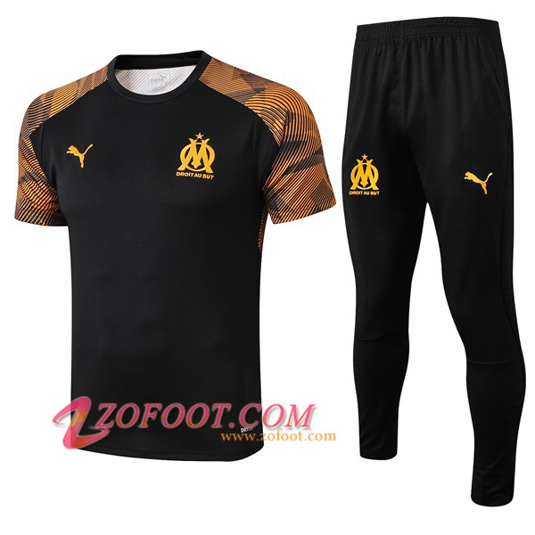 Ensemble Training T-Shirts Marseille OM + Pantalon Noir 2019/2020