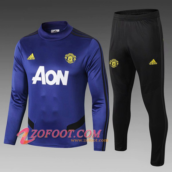Ensemble Survetement de Foot - Veste Manchester United Enfant Bleu 2019/2020