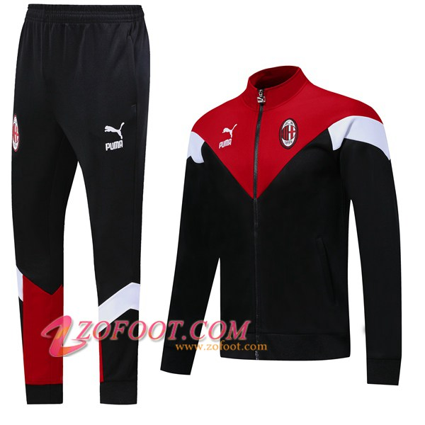Ensemble Survetement de Foot - Veste AC Milan Noir Rouge 2019/2020