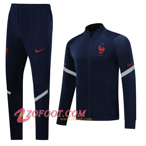 Ensemble Survetement de Foot - Veste France Bleu Royal 2019/2020