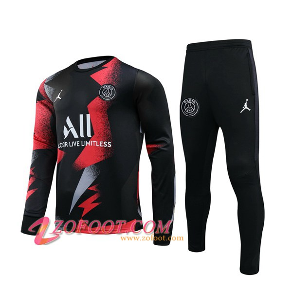Ensemble Survetement de Foot Pairis PSG Jordan Noir Rouge 2019/2020