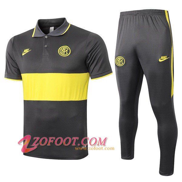 Ensemble Polo Inter Milan + Pantalon Gris Jaune 2019/2020