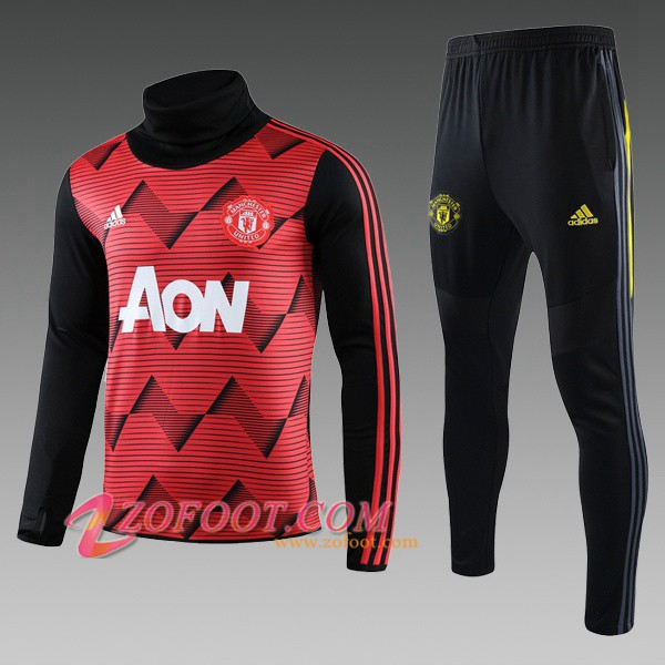 Ensemble Survetement de Foot Manchester United Enfant Rouge Noir Col Haut 2019/2020