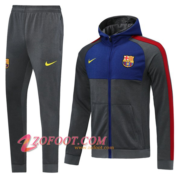 Veste A Capuche Survetement Foot FC Barcelone Gris 2019/2020