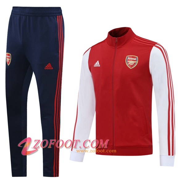 Ensemble Survetement de Foot - Veste Arsenal Rouge Blanc 2020/2021