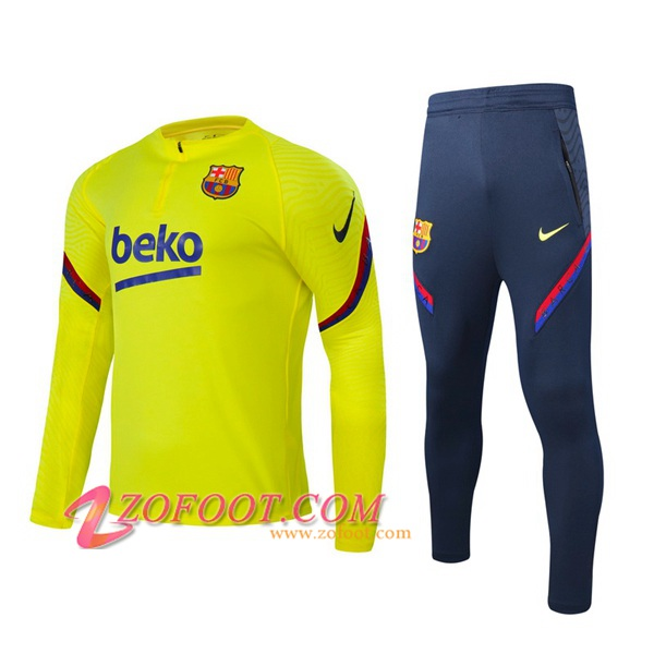 Ensemble Survetement de Foot FC Barcelone Jaune 2020/2021