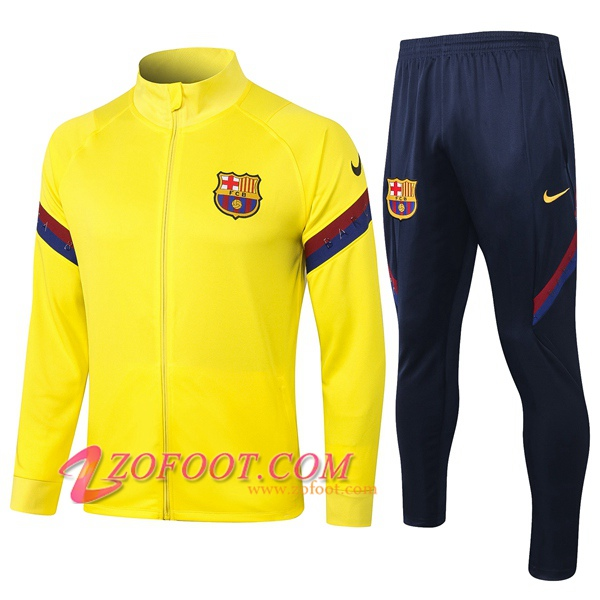 Ensemble Survetement de Foot - Veste FC Barcelone Jaune 2020/2021