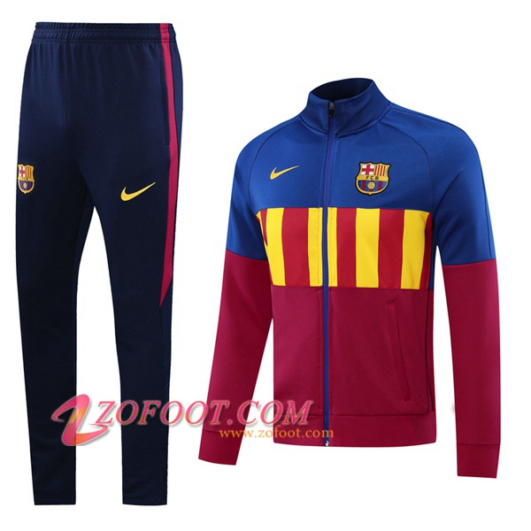 Ensemble Survetement Foot - Veste FC Barcelone Rouge Bleu 2020/2021