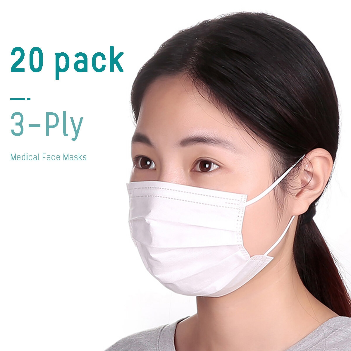 Masque Anti Pollution Jetable Cryptographie Blanc 20 Pieces