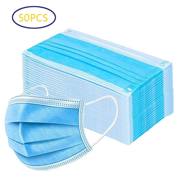 50 PCS Disposable Face Mask with Elastic Ear Loop - 3 Ply Breathable Dust Masks